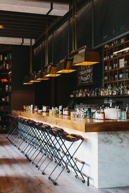 bar, stools and lighting