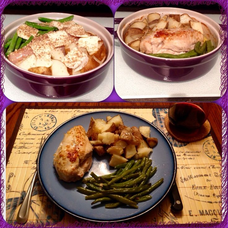 On dish Chicken, Potatoes & green beans. Love my #Epicure baker. So versatile & quick easy clean up!
