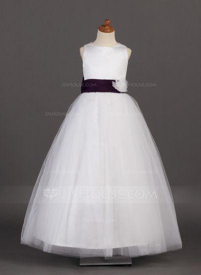 Corte A/Princesa Escote redondo Vestido Satén Tul Vestido para niña de arras con Fajas Flores (010002142)