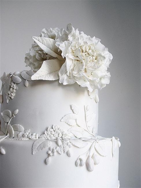 Maggie Austin white on white flower applique and gum paste flowers