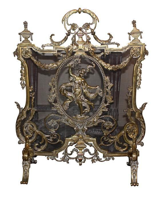 19th Century French bronze fire screen, featuring lots of gorgeous ornate detail in the Art Nouveau style with a whimsical dancing lady. c 1880. $3,200 on GoAntiques