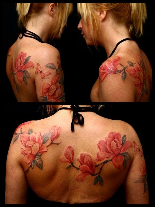 Beautiful pink magnolia tattoo