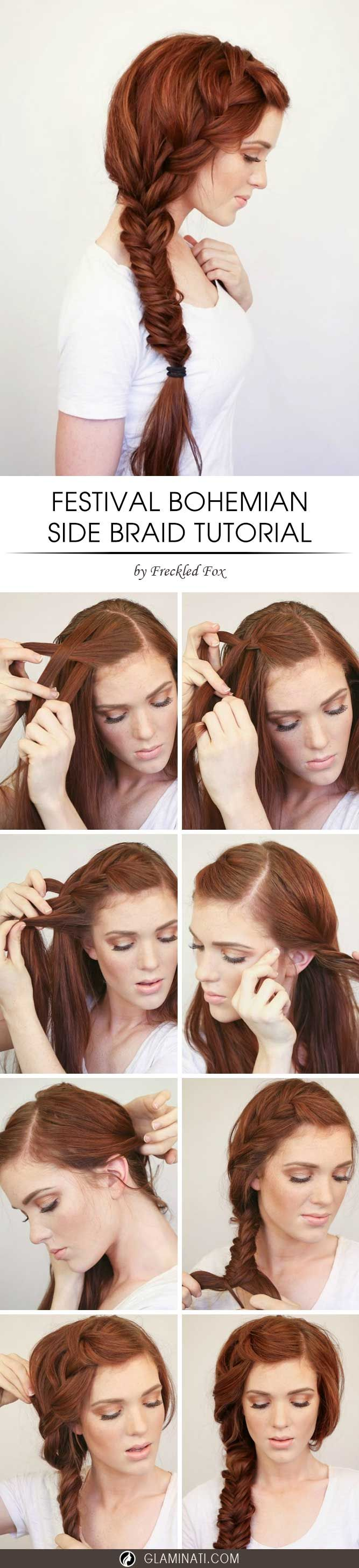 A bohemian side braid is very romantic and beautiful. It is also perfect for any time of the year. Check out this simple tutorial of a bohemian side braid.