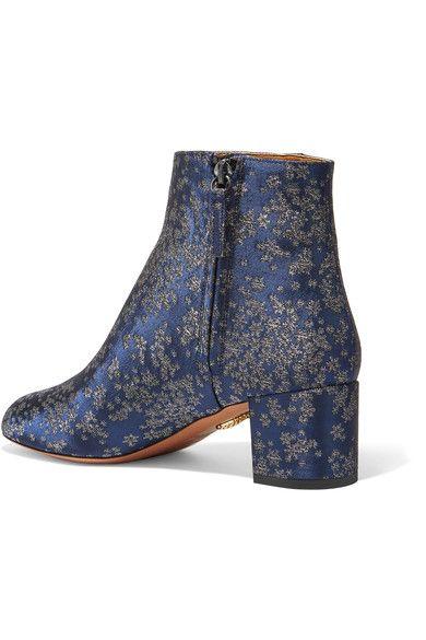 Aquazzura - Brooklyn Jacquard Ankle Boots - Navy - IT