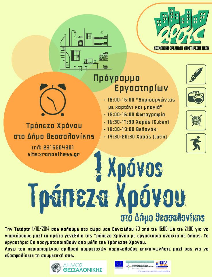 1 Χρόνος Τράπεζα Χρόνου στο Δήμο Θεσσαλονίκης