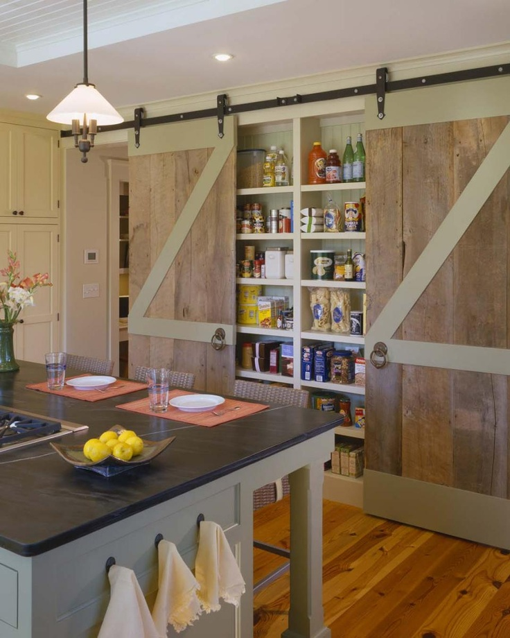 Barn doors for a pantry - so cool.