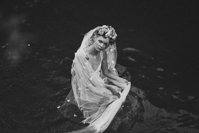 Boudoir shoot in the water with a veil | Lara Hotz Photography for Hooray Magazine with styling by Stefanie Ingram, beauty by Liv Lundelius Makeup Artist and floral design by Jardine Botanic Floral Styling | see more on: http://burnettsboards.com/2014/07/ophelia-enchanting-fashion-boudoir-editorial/