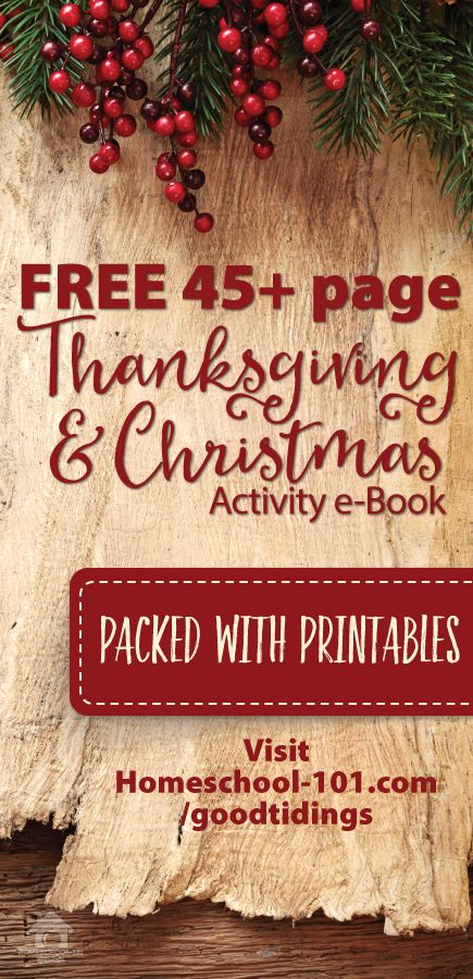 HUGE Thanksgiving and Christmas e-Book with FREE PRINTABLES. Thanksgiving and Christmas activities for children of all ages.   http://homeschool-101.com/goodtidings