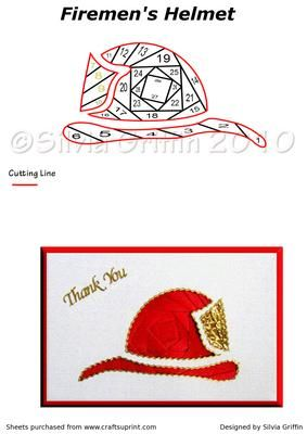 Fireman s Helmet on Craftsuprint designed by Silvia Griffin - Thank you card, Birthday for your husband, children and more will enjoy this pattern.Thank you for checking out my patterns. - Now available for download!