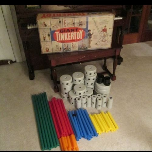 Vintage Giant Tinker Toy Set 80 Ppieces Original 70 S Set W Box