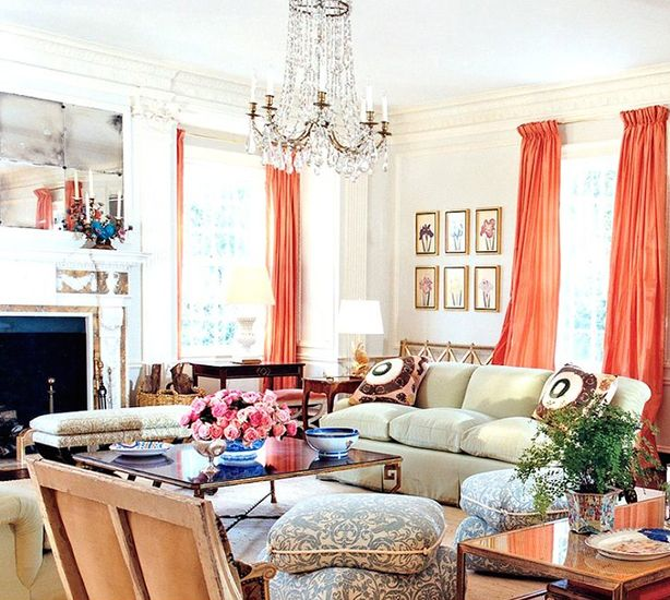 17 Beautifully Feminine Rooms to Get Inspired By// silk drapes, antique mirrorDecor, Daniel Romualdez, Burch Southampton, Living Rooms, Antiques Mirrors, Tory Burch, Colors Drapes, Coral Drapes, Coral Silk
