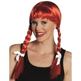Perruque rouge à tresses avec rubans blancs femme