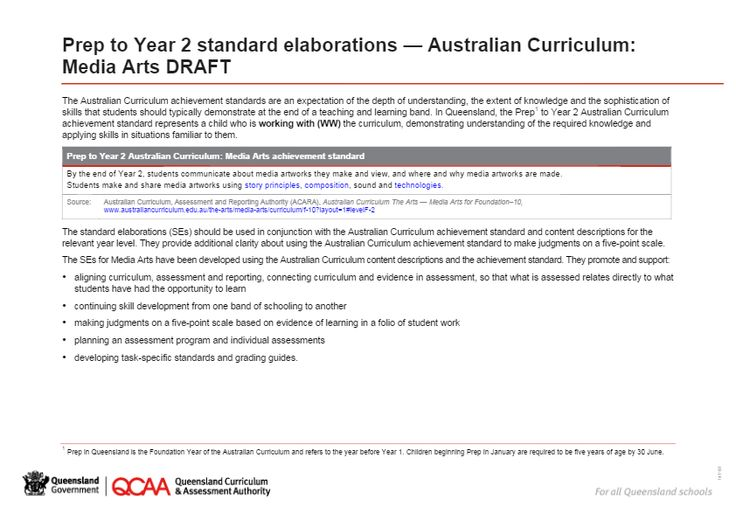 Prep to Year 2 standard elaborations — Australian Curriculum: Media Arts