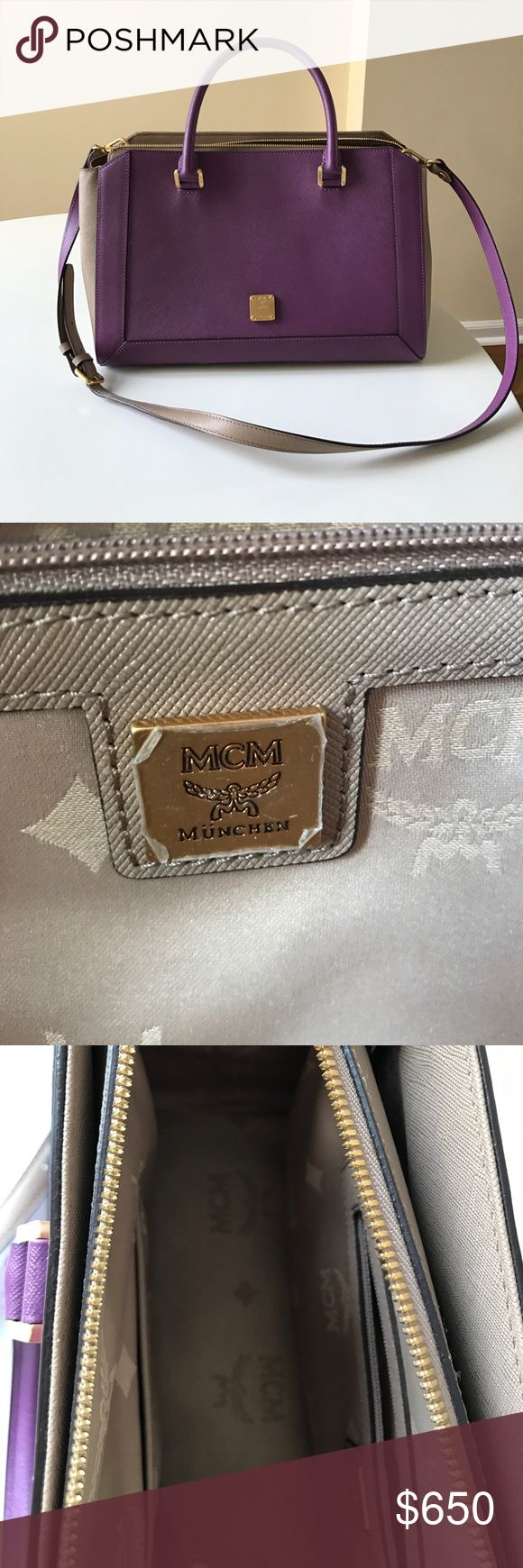 MCM purse Authentic MCM purse in lavender and taupe. Used once. In perfect condition MCM Bags