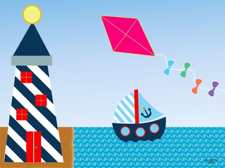 ° Una barca nel mare ° Illustrazione