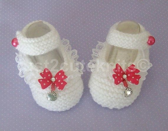 "Hand Knitted Baby Girls Booties with 'Hello Kitty"" Charm. Etsy just2cuteknits - $13 -No pattern - just idea."