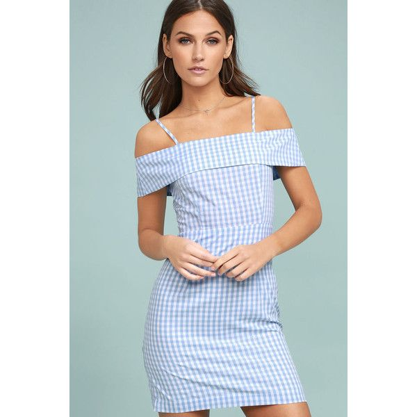 Beach Picnic Blue and White Gingham Dress (£37) ❤ liked on Polyvore featuring dresses, blue, blue dress, blue off shoulder dress, blue and white dresses, polka dot dresses and off the shoulder sheath dress