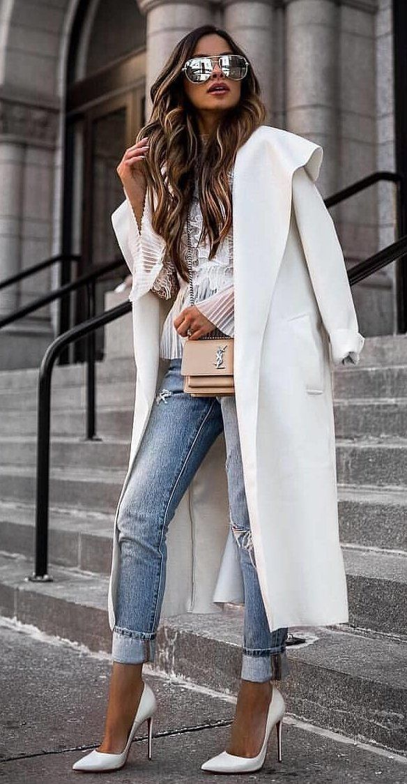 white coat #spring #outfits