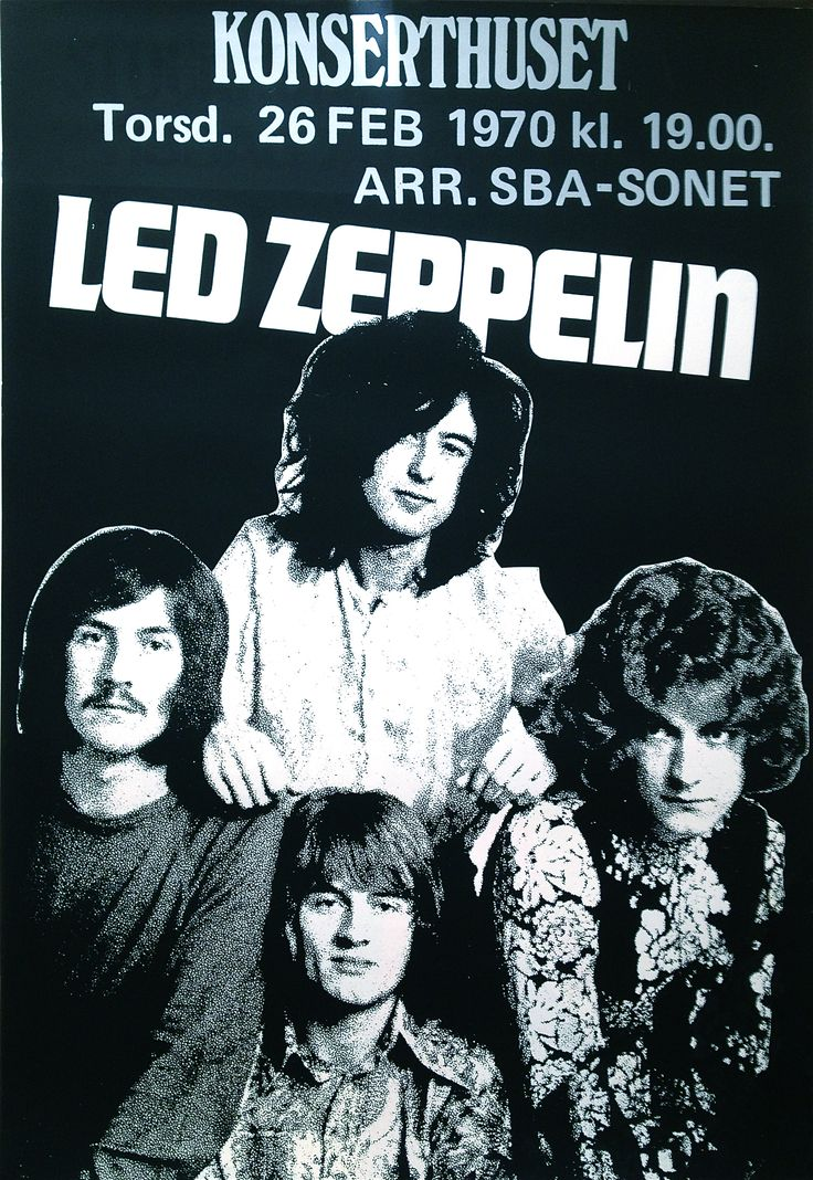 ED ZEPPELIN (1970) - Concert poster Thu Feb 26 1970 Very rare ORIGINAL from their second visit to Sweden! 70x100cm Rolled, VG+ €1,798.60 16