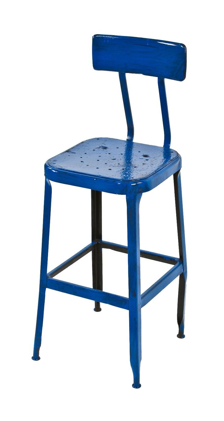 Royal Blue Enameled Four Legged Vintage American Industrial Pressed And  Folded Steel Stationary Machinist Stool