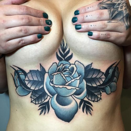 electrictattoos: joshbargtattoo: Did this in one shot today. #tattoo #rose #underboob Josh Barg Check out electrictattoos' new store Holy Lovers