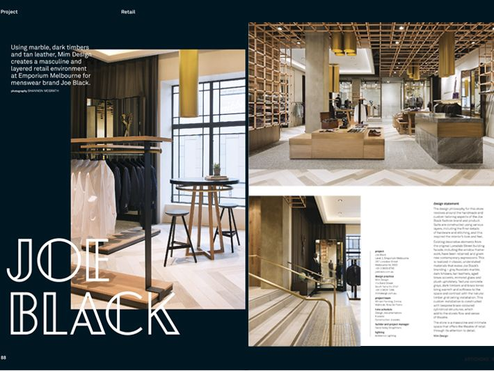 19th November 2014 ARTICHOKE MAGAZINE Our Joe Black Retail Store Has Been Published In One Of All Time Favourite Australian Interiors And Design