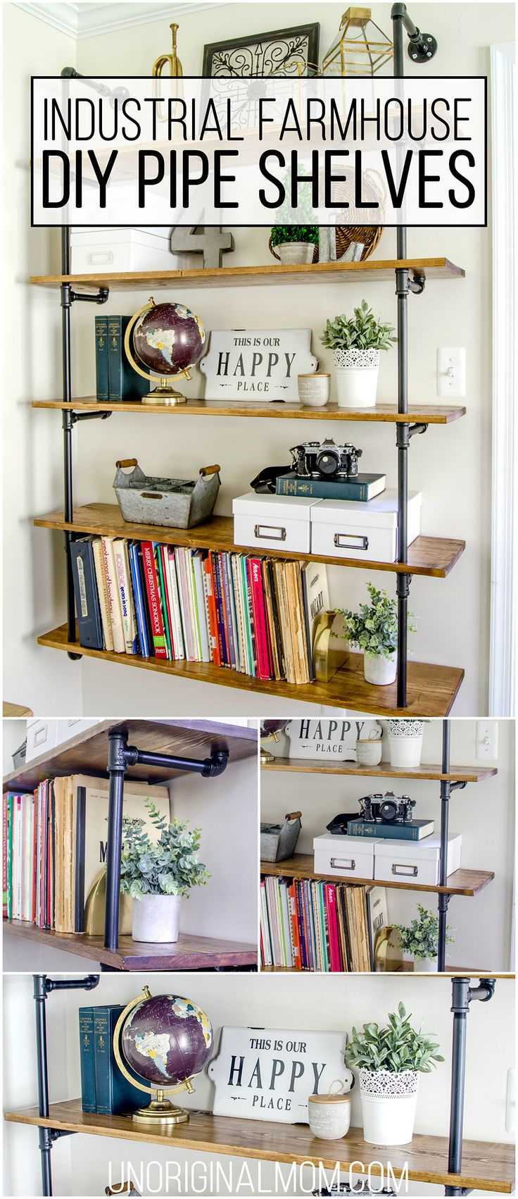 Pipe shelves for an industrial farmhouse office - such a great(and affordable) way to add a lot of style and character to a room! | industrial farmhouse pipe shelves | pipe shelving | fixer upper shelves | one room challenge