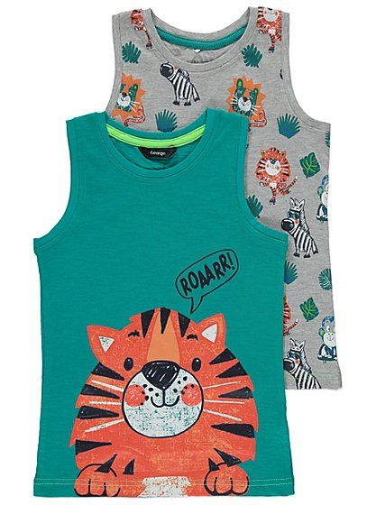 2 Pack Jungle Animal Print Vests, read reviews and buy online at George at ASDA. Shop from our latest range in Kids. Whether it's for layering when it's cool...