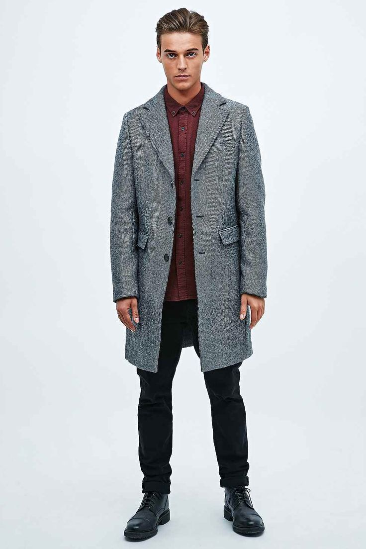 Selected Homme Herringbone Coat in Grey