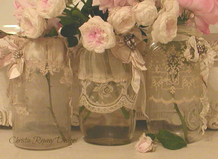 re-cycled embellished vintage jars with antique wedding lace and  rhinestones~ C.Repasy