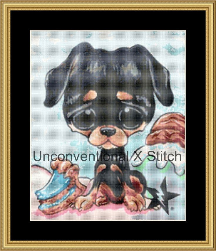 Rottweiler  dog cross stitch pattern - Licensed Sugar Fueled by UnconventionalX on Etsy