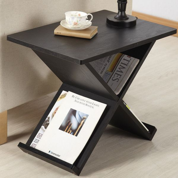 Modern X Frame Square Black End Table With Magazine Rack Part 73