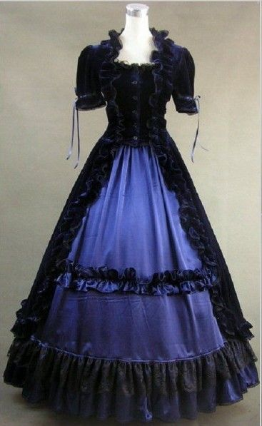 Classic Black and Blue Ruffled Gothic Victorian Dress