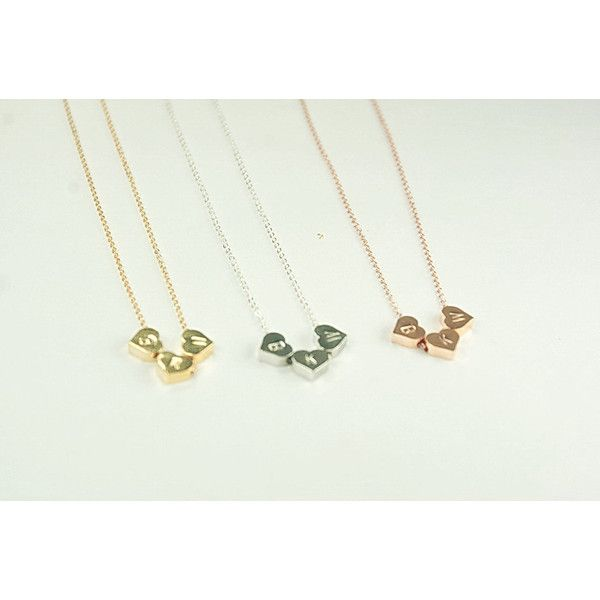 Three best Friends Necklace,3 Initial Hearts necklace.gift for three... (€33) ❤ liked on Polyvore featuring jewelry, necklaces, bead necklace, initial necklace, mini monogram necklace, initial jewelry and letter necklace