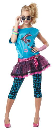 Adult Sexy 80s Punk Rock Star Valley Girl Costume Halloween | eBay