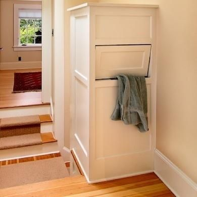 Laundry Chute - If your bedroom is two floors up from the washer and dryer, you might want to resurrect another nearly forgotten feature of old homes: the laundry chute. If you'd like to construct your own, to ensure that your clothes are funneled smoothly, weld sheet metal together to create a ramp, or use lengths of extra-large PVC pipe to form a tube that ends in your laundry room.