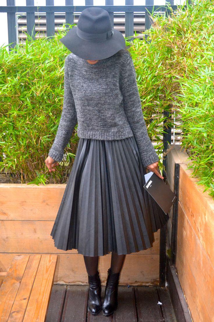 Polly Pleated Leather Midi Skirt