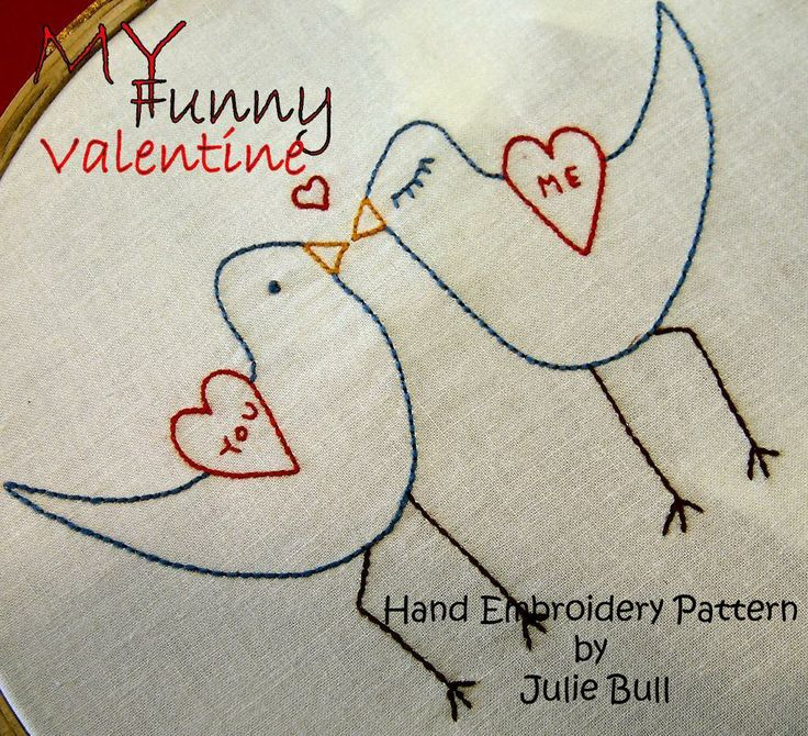My funny valentine embroidery pattern via craftsy