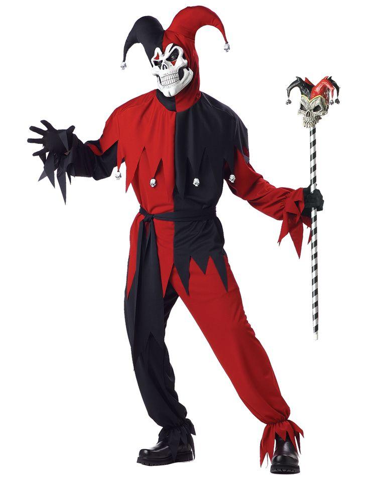 Travestimento Joker pazzo adulto: Questo travestimento da Joker pazzo per uomo si compone di una maglia, un pantalone, un cappuccio, una maschera e una cintura (guanti, scarpe e scettro non inclusi). La maglia bicolore è nera...