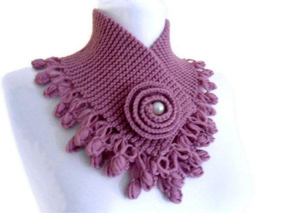 Sky magenta neckwarmers autumn wool por likeknitting en Etsy