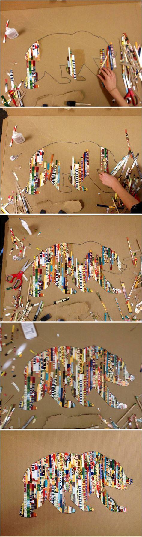 Tegn et omrids af en ønsket figur, klip tynde strimpler af magasiner og lim på. Efterbehandl med Mod Podge/decoupage lim ovenpå.