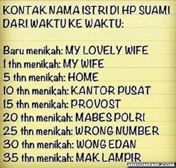Kontak nama istri di HP suami - #GambarLucu #MemeLucu - http://www.indomeme.com/meme/kontak-nama-istri-di-hp-suami/