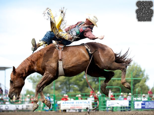 Bareback rider Bobby Mote of Huckaby, TX rides Jenny's Red Wine at the Livermore Rodeo in Livermore, CA.