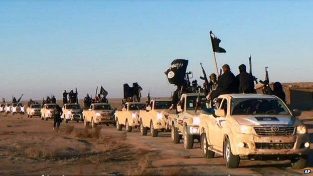 Image from a militant website showing a convoy of vehicles and fighters from the al-Qaida-linked Islamic State of Iraq and the Levant (ISIL) fighters in Iraq's Anbar Province