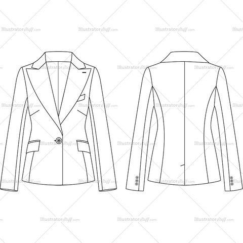 Women's 1 Button Peak Lapel Suit Jacket Fashion Flat Template