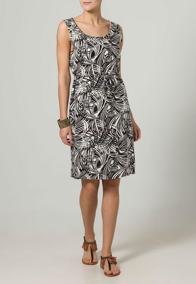 Dept korte mouwloze jurk met grafische print, ronde hals en strik ceintuur, MEER  http://www.pops-fashion.com/?p=11113