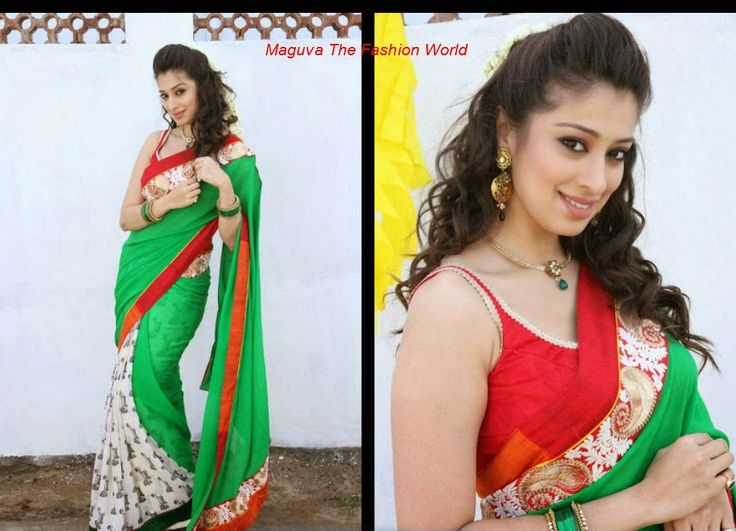 Lakshmi rai in half and half green and white saree with red border paired up with sleevless red blouse