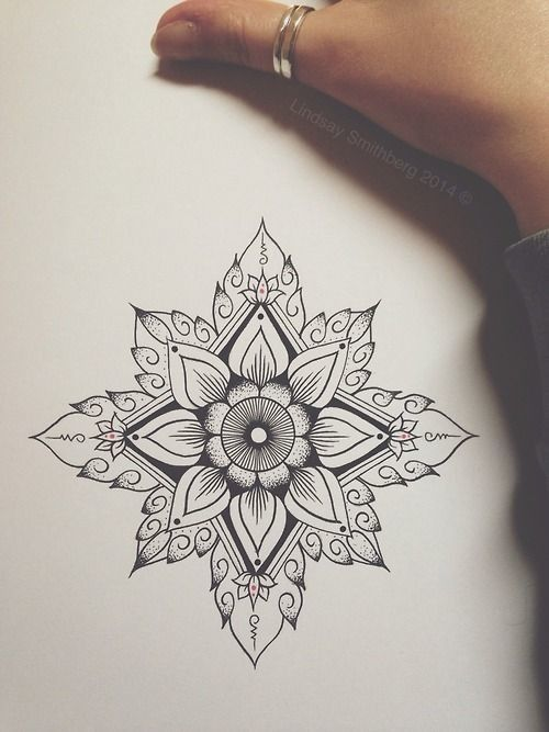 Bonus: Geometric Lotus - 31 of the Prettiest Mandala Tattoos on Pinterest - Photos