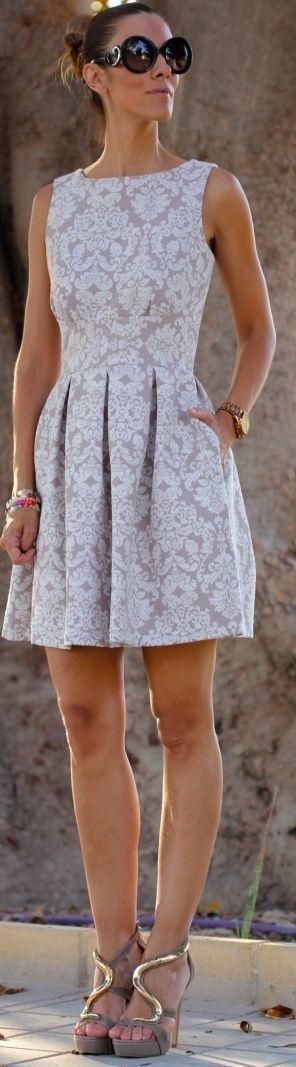 Blush/white Chic Paisley Print Pleated Skirt Skater Dress