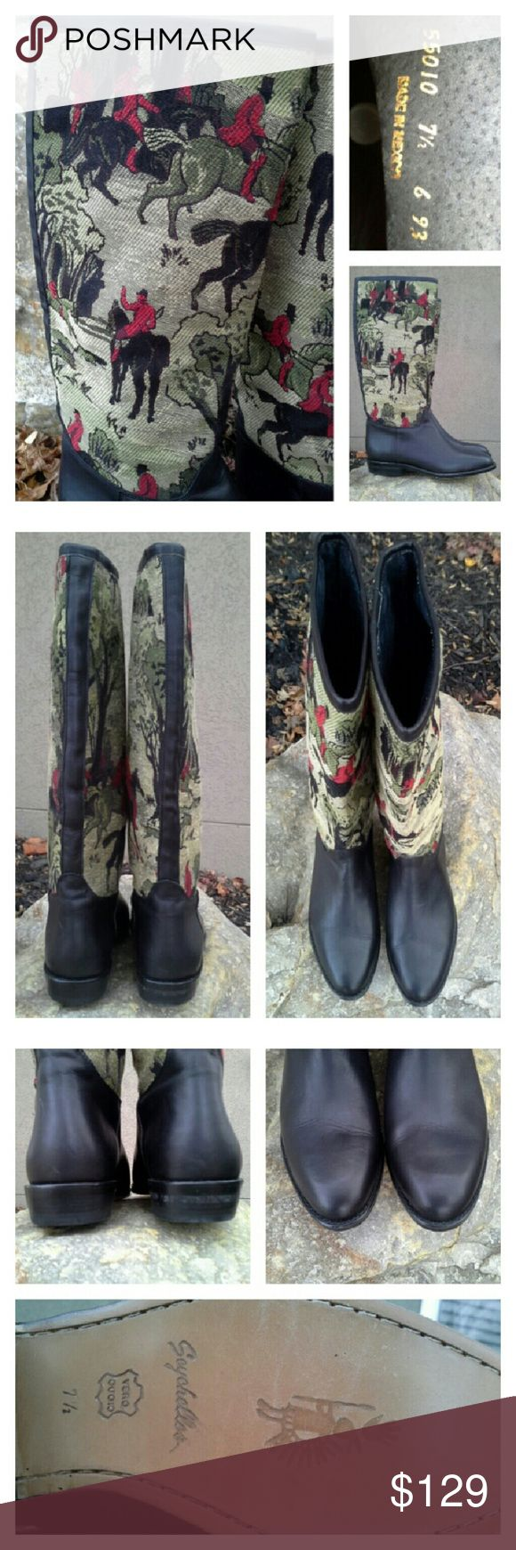 """SEYCHELLES Fox Hunt Tapestry Riding Style Boots Beeeautiful! Black leather uppers and trim. Black charcoal suede interior. Fox hunt equestrian tapestry in light tan, greens, red, black. Near perfect condition, with only minor apparent wear appearing as some creasing on the vamp; soles appear completely unused. Approx measurements: heel height 1"""", shaft 15"""", circumference at opening 13"""", width at ball of foot 3-1/4"""""""". Seychelles Shoes Heeled Boots"""